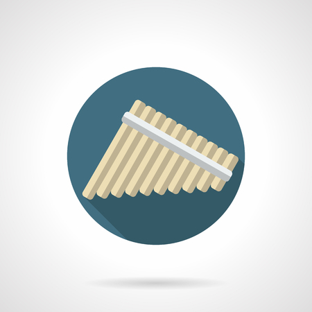 woodwind: Panpipes symbol. Multi-lateral flute, consisting of several hollow tubes of different lengths. Woodwind musical instruments theme. Round flat color design vector icon.