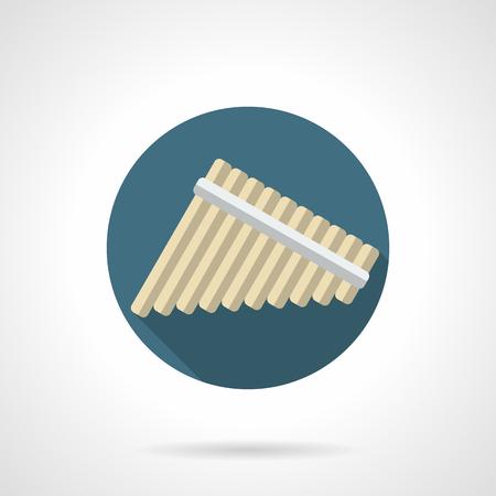 símbolo de flautas de pan. flauta Multi-lateral, que consta de varios tubos huecos de longitudes diferentes. WOODWIND tema de instrumentos musicales. color plano icono del diseño redondo del vector.