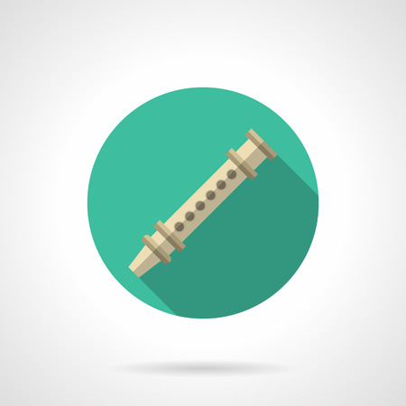 piccolo: Abstract symbol of reed pipe. Folk woodwind musical instruments theme. Wooden flute. Round flat color design vector icon.