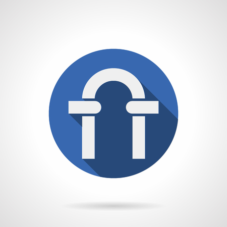web portal: White silhouette of round archway frame. Classic arch portal with columns and stones. Architecture elements. Blue circle flat design vector icon. Illustration