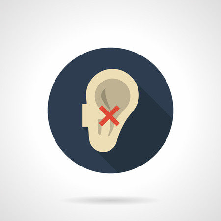 impairment: Abstract human ear and red crossed sign. Harmful effects of smoking on the senses. Hearing impairment and other problems. Round flat color design vector icon.