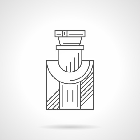 perfumery: Bottle of mens cologne. Perfume for man series. Cosmetic products, fragrances and perfumery shop. Black flat line vector icon. Illustration