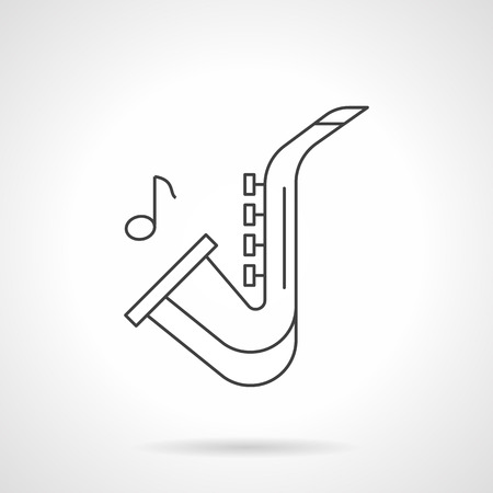 woodwind: Symbol of saxophone and note. Jazz music concept. Woodwind and brass musical instruments. Black flat line vector icon.