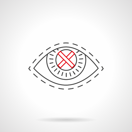 vision problems: Symbol of eye with red crossed sign on a pupil. Eyesight and vision problems. Harm of smoking for sensory organs. Black flat line vector icon.