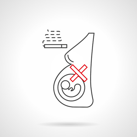 killing cancer: Harm of smoking during pregnancy. Caution for pregnant woman, danger of bad habits for baby. Stop nicotine addiction concept. Black and red flat line vector icon. Illustration