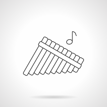 panpipes: Pan flute symbol with single note. Panpipes, bamboo reed pipes. Woodwind musical instrument, pictogram for music store. Black flat line vector icon.