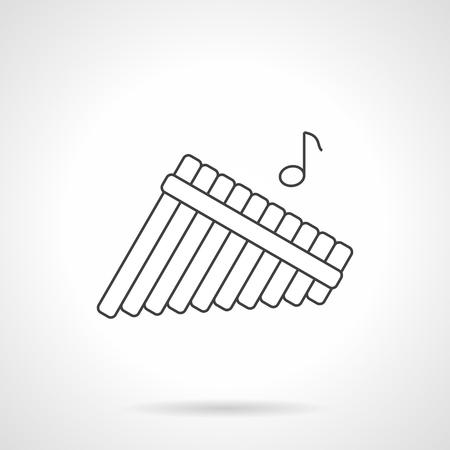 símbolo de flauta de pan con una sola nota. Zampoñas, flautas de caña de bambú. Instrumento musical de viento de madera, pictograma de la tienda de música. línea plana del icono del vector negro.