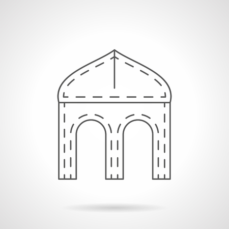 archways: Architectural archways and elements. Ogee four-centered arch symbol. Gothic style buildings. Black flat line vector icon. Illustration