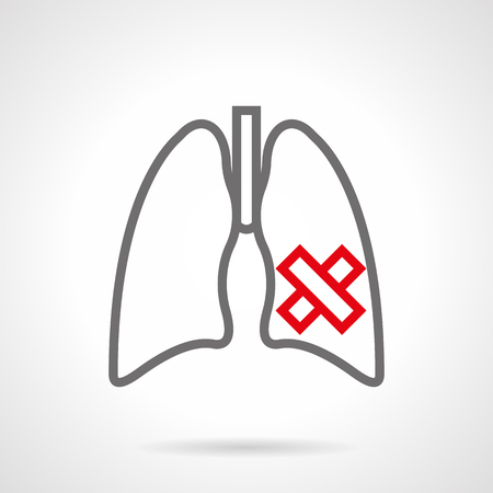 obstructive: Symbol of ill human lungs. Smoking harm for internal organs. Consequences of nicotine addiction. Simple gray and red line style vector icon.