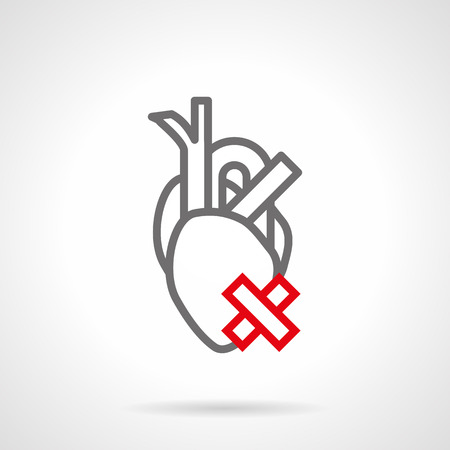 heart damage: Symbol of ill human heart with crossed sign. Destruction of internal organs. Smoking harm concept. Simple gray and red line style vector icon.