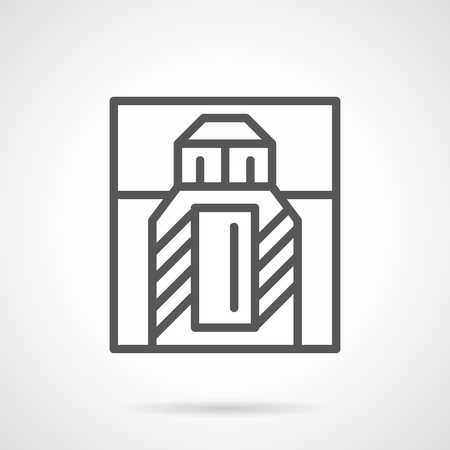 perfumery: Perfume box with bottle. Perfumery and fragrances for men and women. Cosmetic and beauty products symbol. Simple black line style vector icon.