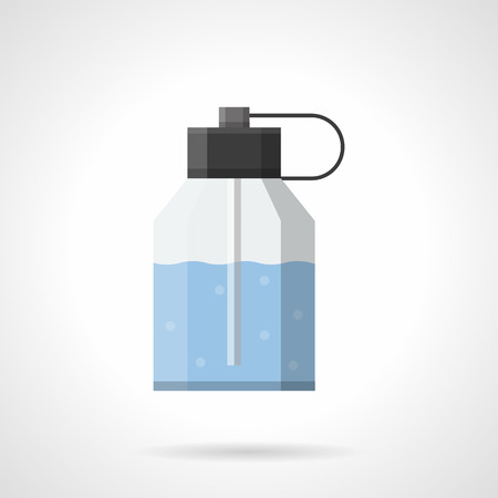 atomizer: Plastic bottle with atomizer and blue liquid. After shave scented lotion. Cosmetic and skin care products for mens. Flat color style vector icon. Illustration