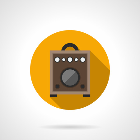 volume knob: Brown wooden amplifier box for guitar. Professional equipment for concerts and music entertainment. Round yellow flat design vector icon. Illustration