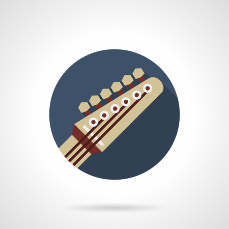 headstock: Symbol of guitar part - headstock. Modern music sign. Professional musical equipment, lessons, store. Round blue flat design vector icon.