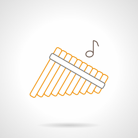 solo: Abstract sign of multitubular panpipes and one note. Traditional musical wind instrument. Solo performance of orchestra. Flat black and yellow line vector icon. Illustration