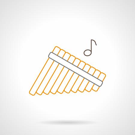 Muestra abstracta de zampoñas multitubulares y una nota. instrumento musical de viento tradicional. actuación en solitario de la orquesta. Plana negro y amarillo icono de la línea del vector.