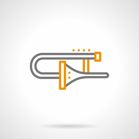 brass wind: Brass wind musical instrument - trombone. Symbol for jazz, symphony orchestra, classical music. Simple black and yellow line style vector icon.