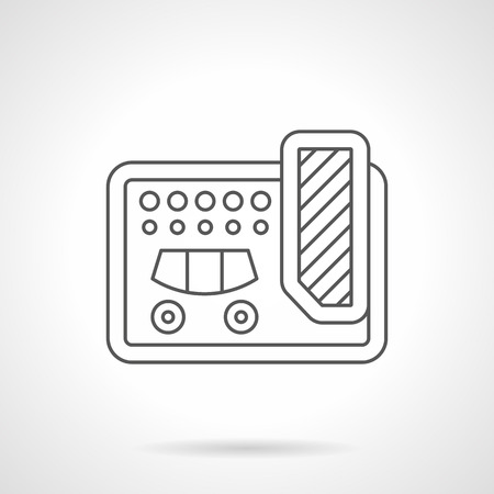 reverberation: Guitar multi effects unit symbol. Professional equipment for concerts, musical bands, recording studio. Flat black line vector icon.