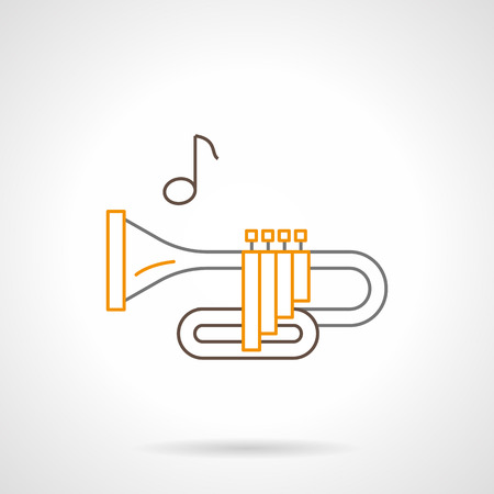 brass wind: Symbol of brass wind instrument. Trumpet and one note. Melodies of orchestra or jazz. Musical shop items. Flat black and yellow line vector icon.