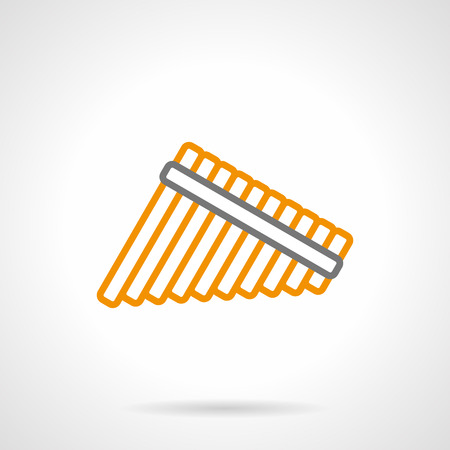 woodwind: Folk flute or panpipe symbol. Traditional woodwind musical instruments, reed pipes. Music store items. Single yellow and gray simple line style design vector icon.