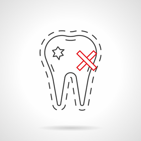 enamel: aching tooth with carious holes on enamel. impact of smoking on dental health. toothache. tooth decay. stomatology. Flat black and red line vector icon. Illustration