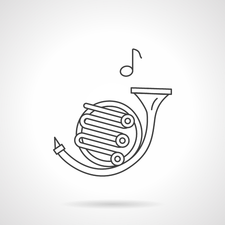 symphonic: Brass wind instruments theme. French horn symbol and single note. Symphonic orchestra elements, performance of classical music concerts. Flat black line vector icon. Illustration