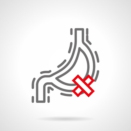 gastric colic: Symbol of sick stomach with crossed sign. Diseases of digestive system. Harm of smoking and bad habits for internal organs. Single gray and red line style design vector icon.