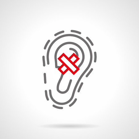 Abstract symbol of organ of hearing diseases. Human ear and crossed sign. Deafness, otitis, ache and other samples. Single gray and red line style design vector icon.