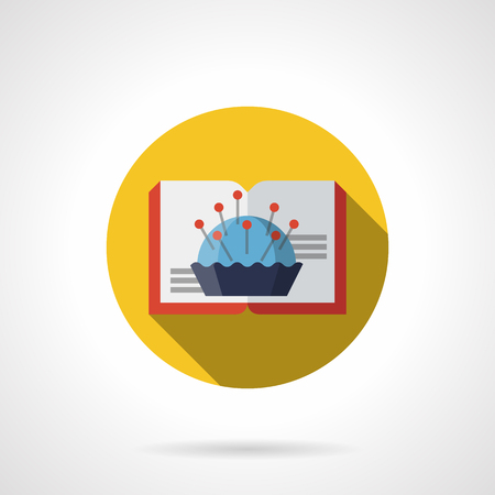 Open book with red cover and image of blue pincushion with pins. Literature for handmade, hobbies, needle craft, DIY tutorials. Round yellow flat vector icon with long shadow design.