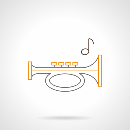 brass wind: Conceptual symbol of signal horn. Trumpet and single note. Different music and audio equipment, brass wind musical instruments. Gray and yellow flat line vector icon. Illustration