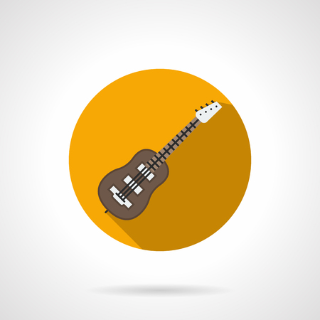 Classical brown wooden acoustic guitar. Musical string instruments. Sign for music store, festivals, bands and other. Round yellow flat design vector icon.