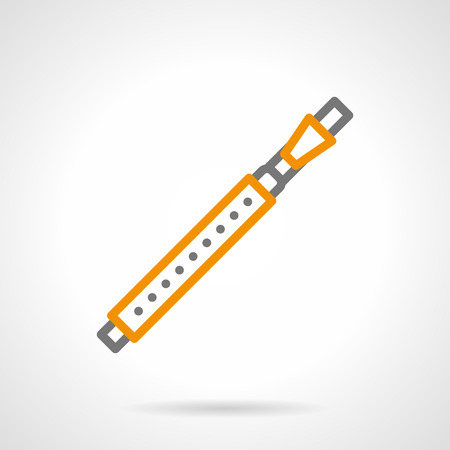 solo: Abstract symbol of bassoon. Woodwind musical instrument for solo and ensemble performance. Single gray and yellow simple line style design vector icon. Illustration