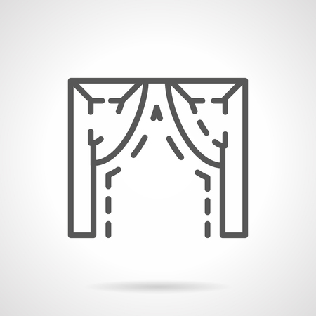 arched: Architectural decorative element with ogee arch for window frame, doorway, building facade. Sample of modern shape or arched structures. Single black simple line design vector icon.
