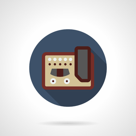amplifiers: Abstract symbol of guitar stompbox. Over drive effect distortion pedals and amplifiers. Professional musical equipment and devices. Round blue flat design vector icon. Illustration