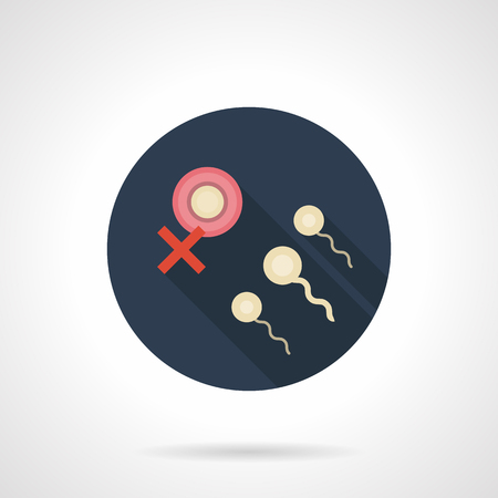 insemination: Abstract symbol of problem of ovum fertilization by sperm. Infertility and artificial insemination. Round blue flat design vector icon. Illustration
