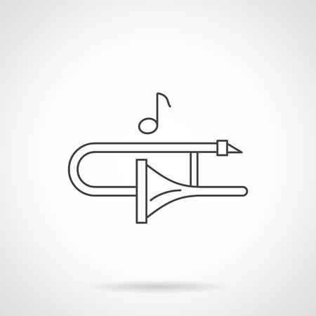 trombon: Play on trombone concept. Jazz melody. Brass and woodwind instruments. Symbol for musical lessons, icon.