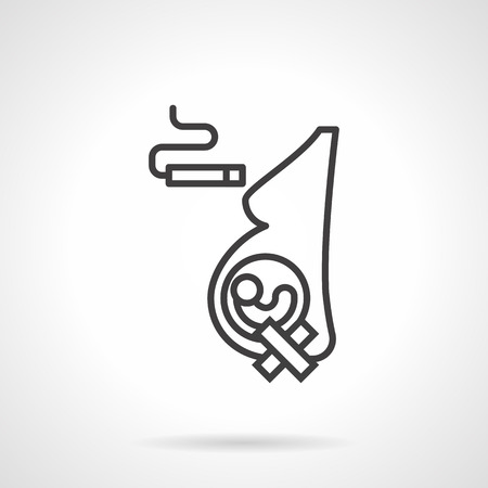 harm: Example of harm of smoking for human health. Concept of bad habits during pregnancy. Stop a nicotine addiction. Single black simple line style design vector icon. Illustration