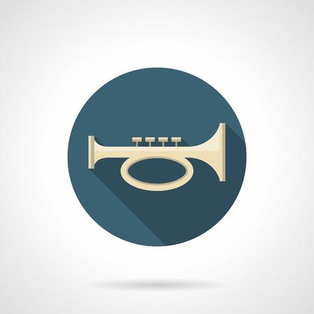 cornet: Cornet, bugle or trumpet symbol. Brass horn melody. Musical and sound instruments. Orchestral, jazz, festival music. Round flat design