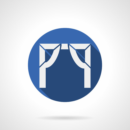 web portal: White silhouette sign of entrance arch frame. Abstract symbol of architectural decoration element for building facade, gate and doorways. Round blue flat design