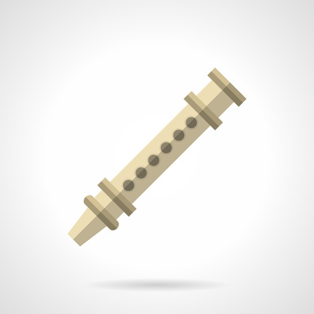professional flute: Symbol of woodwind flute piccolo. Tune with professional musical instruments. Folk festival and entertainment. Music store web element. Flat color style vector icon.