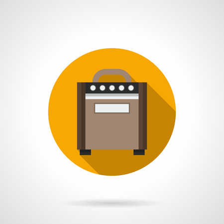 stringed: Brown wooden retro guitar combo amplifier cabinet. Speakers for electric musical stringed instruments. Music entertainment equipment. Round flat design vector icon. Illustration