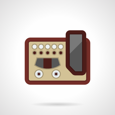 Guitar effect processor with pedal, switches and knobs. Equipment and devices for professional and quality music creating and perform. Flat color style vector icon.