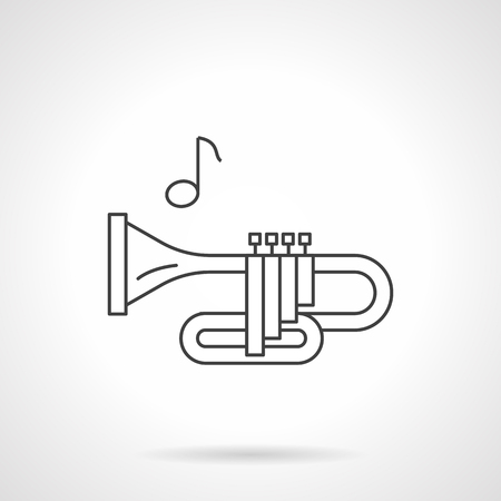 brass wind: Side view of bugle or trumpet and note. Brass wind instruments tune. Musical store and services. Flat black line vector icon.