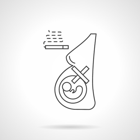 harm: Symbol of mother careless attitude to fetus health. Abstract figure of pregnant woman and cigarette. Harm and damaging effects of smoking. Flat black line vector icon.