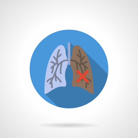 diseased: Symbol of comparative between healthy and diseased lung. Smoker internal organs. Illness of respiratory system, cancer, consequences of smoking. Round blue flat color design vector icon.