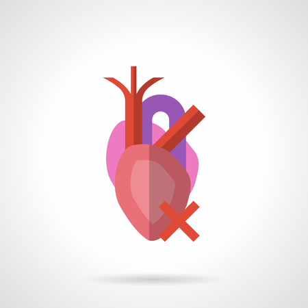 Anatomical heart with veins and arteries. Medicine and cardiology concept. Effects of harmful lifestyle, smoking and alcohol on humans cardiovascular system. Flat color style vector icon.
