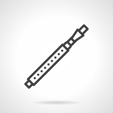 woodwind: Variation of flute - fife. Brass and woodwind musical instruments. Symphony orchestra, performance of classical and modern music. Black simple line style design vector icon.