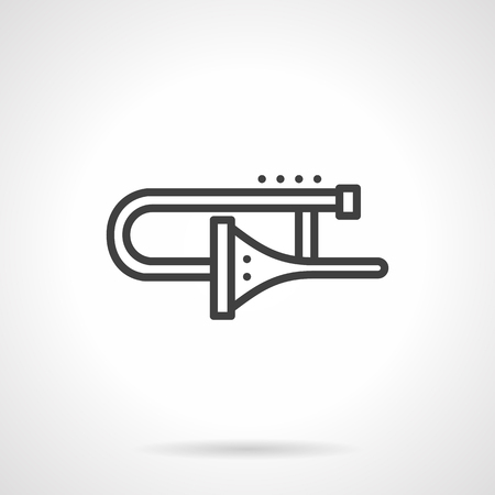 solo: Brass and woodwind musical instruments. Trombone symbol. Concept of symphony orchestra, jazz bands, solo performance. Black simple line style design vector icon.