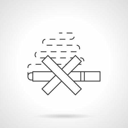 crossed cigarette: Stop smoking concept. Symbol of crossed cigarette with smoke. Harm of nicotine for human health, unhealthy lifestyle. Flat black line vector icon.