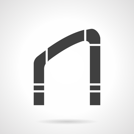 slanted: Silhouette of oblique arch frame. Arched construction for stairs, inclined or slanted elements of building. Architecture objects. Symbolic black glyph design vector icon. Illustration